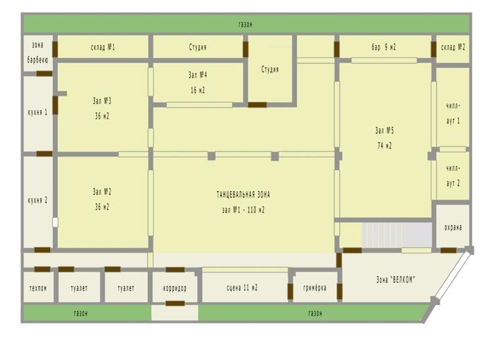 План 1-го этажа - РЕСТОРАН